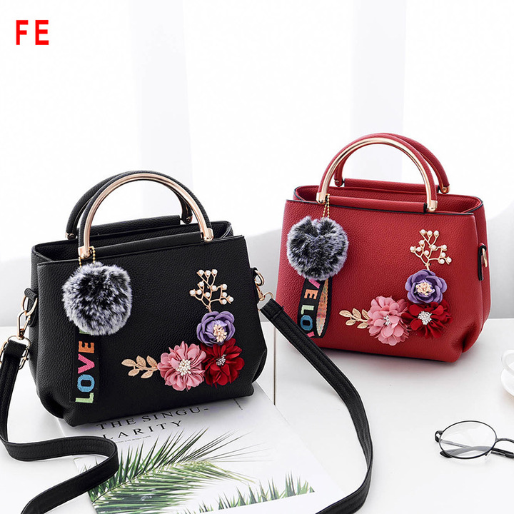 FE Womens Bags Fashion Beautiful Flowers Square Bag Trend Shoulder Bag Ladies Bag black 23CM*12CM*17CM
