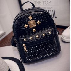 FE Womens Bags Backpacks PU Crocodile Leather Satchel Rivet Lady Bag Student Bag Ladies Bag black normal
