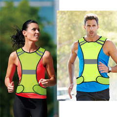 Safety Vest Night Sports Vest Running Riding Reflective Vest Security Jacket Reflective Strips yelllow one size