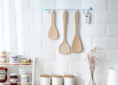 2EST Daily Kitchen long handle wooden non-stick special unpainted heat-resistant wooden shovel wooden one size