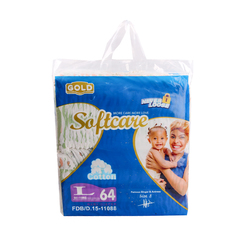 SOFTCARE Diaper Gold, Large 9-15Kgs,Count 64 For baby blue L64(9-15kg)