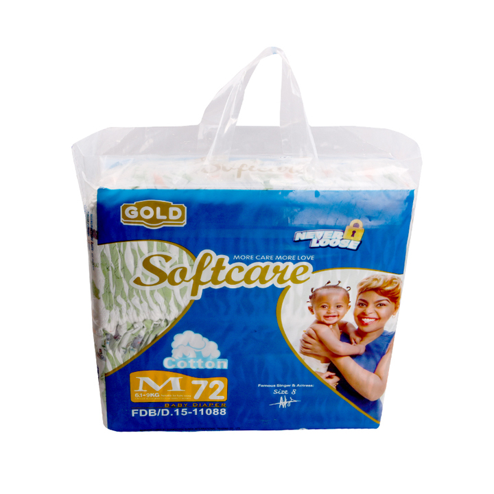 SOFTCARE Diaper Gold, Medium 6-9Kgs,Count 72 For baby blue M72(6-9kgs)