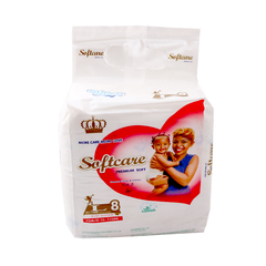 SOFTCARE Diaper Premium, Large 9-15Kgs,Count 8 For Baby white l8 (9-15kgs)
