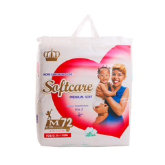 SOFTCARE Diaper Premium, Medium 6-9Kgs,Count 72 For Baby white m72(6-9kgs)