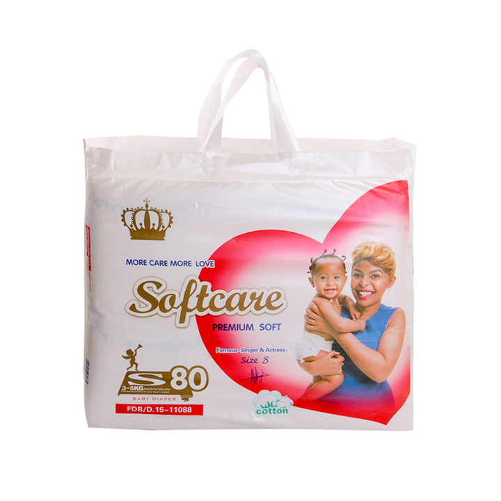 SOFTCARE Diaper Premium, Small 3-6Kgs,,Count 80 For Baby white s80(3-6kgs)