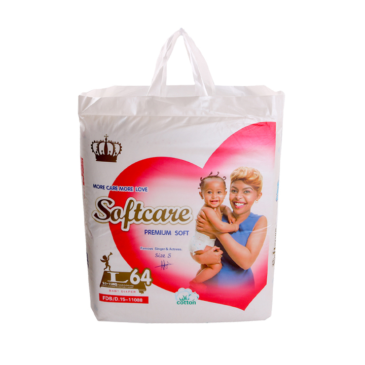 SOFTCARE Diaper Premium, Large 9-15Kgs,Count 64 For Baby white l64(9-15kg)