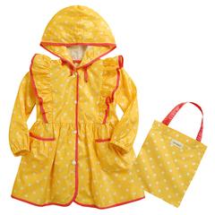 Children's Raincoat Girl Portable Rainwear Kids Rainproof yellow S