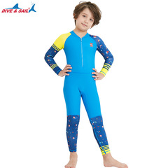 1 Piece Swimsuit Long Sleeve Kids Diving Swimwear For Girl Boy Sun protective Beach Suit Blue S