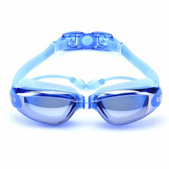 Swimming  Anti fog Waterproof Swim Eyewear for Adult Diving Goggles with Earplugs blue one size