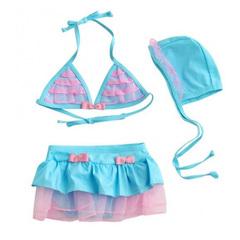 Baby Bathing Suit  Swimwear BLUE Children Swimsuit Split Bikinis Set Kids Swimsuit 1-5Years blue 3T
