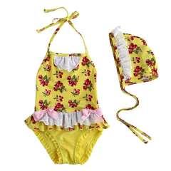Children's Swimming Suit Conjoined Kid's Swimwear Yellow 3-7year yellow 3t