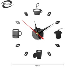 CD09 DIY wall clock coffe style funny acrylic materials digital mirror wall stickers clocks black