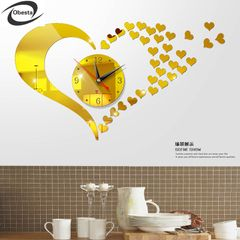 CD15 cheap price promotion quiet movement DIY wall clock LOVE beautiful heart shape design clock gold