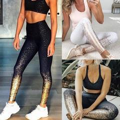 2019 New Women Leggings Gilding High Waist Slim Fit Yoga Workout Running Sport Pants black s