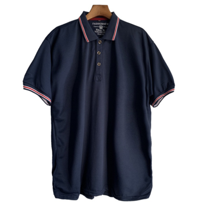 Men Polo Shirt Men Business Casual Solid Male Polo Shirt Short Sleeve High Quality Plus Size Tops navy blue xxl polyester&cotton