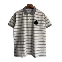 2019  Men Embroidery Stripe Polo T-shirts Casual Fashion Men Tops gray l polyester&cotton