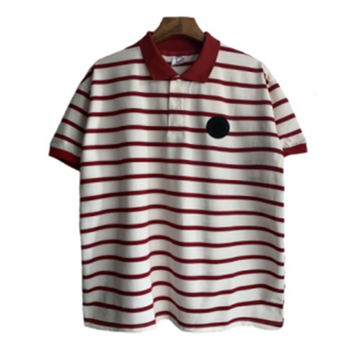 2019  Men Embroidery Stripe Polo T-shirts Casual Fashion Men Tops red xl polyester&cotton