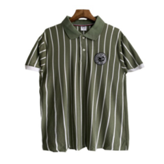 Fashion Upright Slender Stripe Men Polo T-shirts Summer Breathable Casual Men Tops green l polyester&cotton