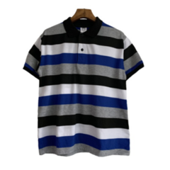 2019 New arrival Casual Men Polo T-shirts Short Sleeve Transverse Stripe Men Tops navy blue l polyester&cotton