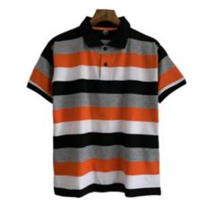 2019 New arrival Casual Men Polo T-shirts Short Sleeve Transverse Stripe Men Tops orange xl polyester&cotton