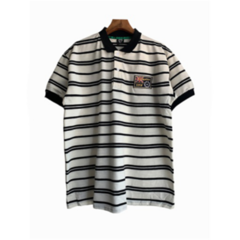 Summer Classical Men Stripe Polo T-shirts Short Sleeve Casual Breathable Tops black l polyester&cotton