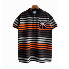 Summer Men Multiple Colors Stripe Polo T-shirts Fashion Short Sleeve Embroidery Casual Tops style 1 l polyester&cotton
