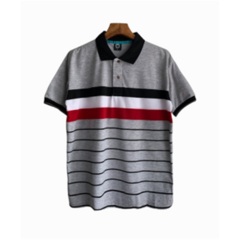 Fashion Men Shorte Sleeve Men Polo T-shirts Business Breathable Tops gray l polyester&cotton