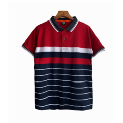 Fashion Men Shorte Sleeve Men Polo T-shirts Business Breathable Tops red l polyester&cotton