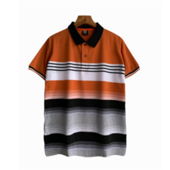 2019 New Style Gradual Colors Stripe Men Polo T-shirts Short Sleeve Fashional Tops orange xl polyester&cotton