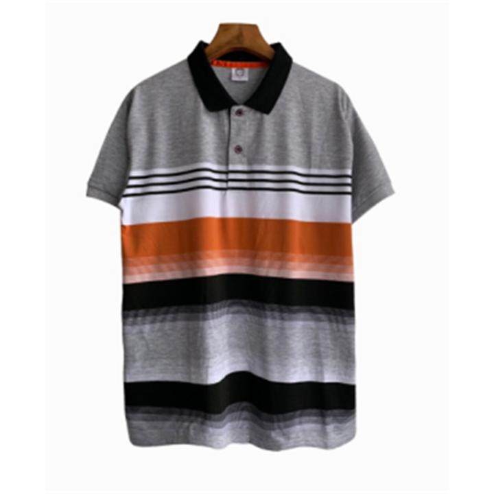 2019 New Style Gradual Colors Stripe Men Polo T-shirts Short Sleeve Fashional Tops gray xxl polyester&cotton