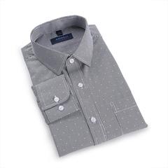 Men's Casual Cotton Polka Dots Long Sleeve Dress Shirts (S-3XL) black s