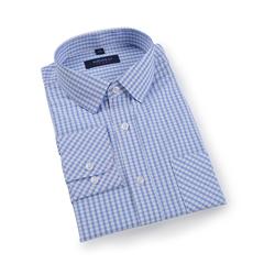 Men's Long Sleeve Plaid Shirt Classic Regular Fit Button-Collar Dress Blouse Shirts light blue s