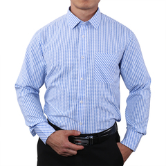 Men's Long Sleeve Plaid Shirt Classic Regular Fit Button-Collar Dress Blouse Shirts light blue s