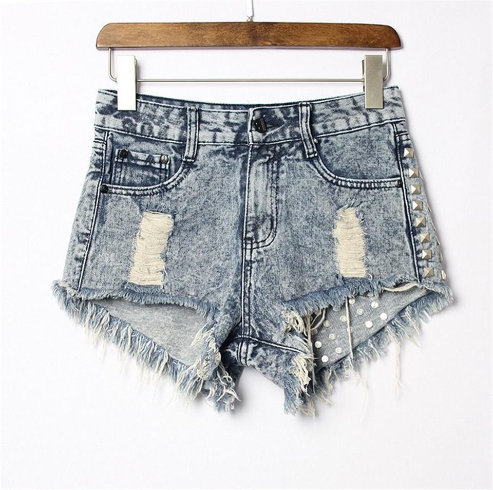 b31c464fb Women s clothing ripped retro high-waisted denim shorts rivet punk ...