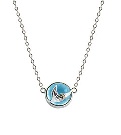 Bubble Mermaid Design S925 Silver Mermaid Tail Blue Crystal Pendant Necklace Jewelry Fashion Women 6-7mm 45cm