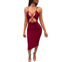 2019 summer sexy halter nightclub women's openwork strap dress ladies long skirt dress s red