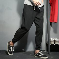 Trousers men casual increase fertilizer slim multicolor cotton harem pants 8XL black feet pants black s