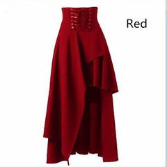 New Women's Skirt Irregular Skirt Retro Gothic Lolita Strap Long Skirt Solid Color black s