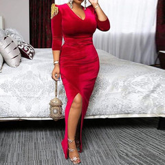 2019 new fashion women's pullover lace v-neck long-sleeved custom red office lady dress m red