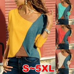 Women's fashion Women  Long Sleeve Ladies Loose T-shirt Pullover  Sweatshirt Blouses Plus Sizeyf red s