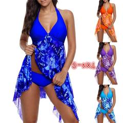 4 Color Women's Fashion Sexy Print Bikini Two Piece Halter Swimdress Padded Swimsuit Plus Size purple s
