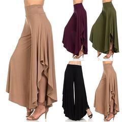Women's fashion Pure Color High Waist Long Casual Loose Sexy Wide Leg Pants Yoga Flare Pants black xl