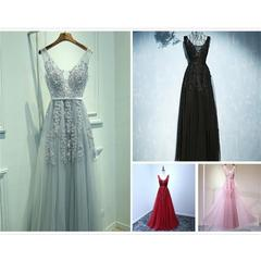 Women's fashion Charming Sexy Dresses A-Line V-Neck Elegant Embroidery Long Prom Evening  4 Colors grey s