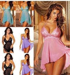 Super Sexy Women's Lingerie Lace Dress Temptation uniform code black