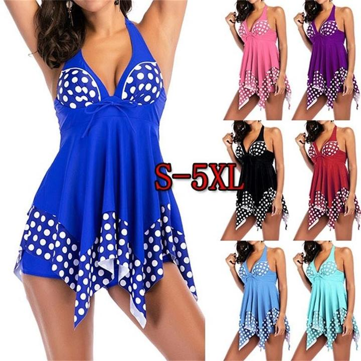 Plus Size Women Polka Dot Print Halter Neck Asymmetric Hem Swimdress and Shorts Sexy Swimwear S-5XL black xxxxxl