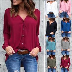 Blockbuster V-collar pleated button long sleeve loose Chiffon T-shirt for women black s