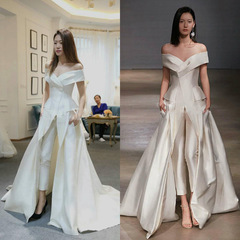 Women's fashion new European and American evening dresses bride toast long party dresses s white
