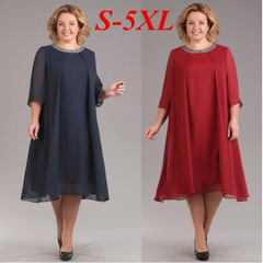 Gift for mother Women's fashion 2019 summer sexy seven-point sleeve chiffon dresses large size 5xl red
