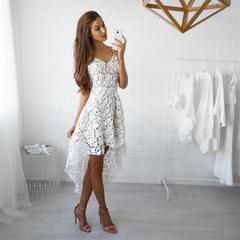 Women's fashion European and American spring and summer dresses selling lace dresses m white