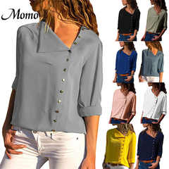 Chiffon Blouse 2019 Fashion Long Sleeve Women Blouses and Tops Skew Collar Solid Office Shirt Casual white s